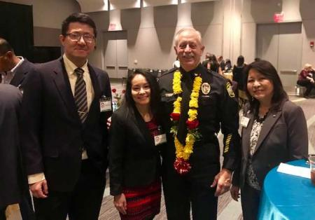 Left to Right: Dr. Harry Zhang, Manny Holadia (ABAHR President), Virginia Beach Chief of Police Jim Cervera, Petula Moy (Immediate Past President)